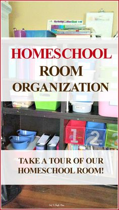 TOUR OUR HOMESCHOOL ROOM! Organize Your Homeschool Room - 10 Days of Homeschool Planning. I know I love looking at other homeschool rooms and getting tips and ideas on how to organize our schoolroom, so I thought I would share ours with you! Take a look at our setup and see how we organize for our family. Homeschool tips, homeschool organization.