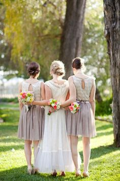 with just one or two bridesmaids-- maybe looking back at camera?