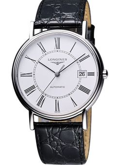 Longines Presence Automatic White Dial Roman Numerals Date Black Leather Watch# L4.921.4.11.2 (Men Watch)