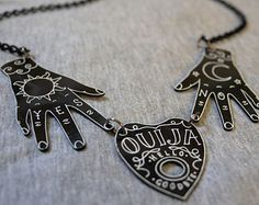 Ouija Necklace. Ouija Board. Planchette. Hands. Mystic. Paranormal. Spooky. Shrink Plastic Necklace. Occult. Gypsy Necklace. Witchcraft.