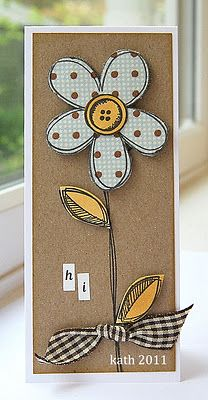 handmade card ... tall and narrow format ... paper piecing for flowwe and leaves ... kraft base ... gingham ribbon ... like the clean look and the whimsical flower ...