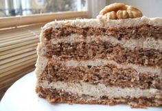 Walnut cake (in hungarian) My Recipes, Cake Recipes, Cooking Recipes, Healthy Recipes, Hungarian Cuisine, Hungarian Recipes, Hungarian Food, Walnut Cake, Holiday Dinner