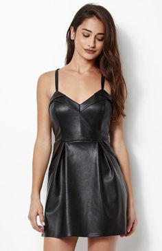 Leather dress as her little black number that always pulls.