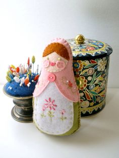 Felt Matryoshka Doll - Embroidered Leaf Green and Light Pink by Sarahndipities on Etsy https://www.etsy.com/listing/189091282/felt-matryoshka-doll-embroidered-leaf