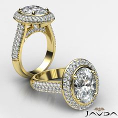 2 Row Halo Pre-Set Oval Diamond Engagement Ring GIA H VS2 18k Yellow Gold 3ct