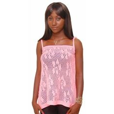 This is a pretty knit top. It has a mesh with flower motif design so it lets the air in. It is lightweight, so it is very suitable for warm weather wear to stay cool in the heat. It is loose fitting because when it is hot, you don't want anything sticking to you. Add this pretty number to your wardrobe and stay cool no matter the...