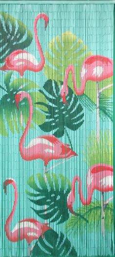 This door curtain is made of bamboo beads. The Kitsch Kitchen bamboo bead curtain is not only useful Kitsch, Flamingo Decor, Pink Flamingos, Plastic Flamingos, Flamingo Bathroom, Bamboo Beaded Curtains, Bamboo Care, Door Curtains, Bead Curtains
