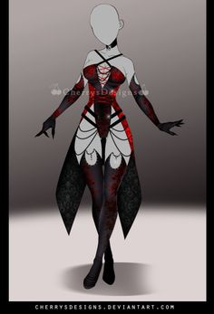 (closed) - Outfit 725 by CherrysDesigns on DeviantArt - (closed) – Outfit 725 by cherrysdesigns. Hero Costumes, Anime Costumes, Character Costumes, Character Outfits, Clothing Sketches, Dress Sketches, Dress Drawing, Drawing Clothes, Fashion Design Drawings