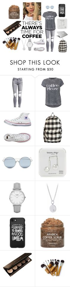 """""""Coffee is a student's hero"""" by sorcha-pearce ❤ liked on Polyvore featuring AMIRI, Converse, Billabong, For Art's Sake, Happy Plugs, CLUSE, Keishi Jewellery, Casetify, Becca and CoffeeDate"""