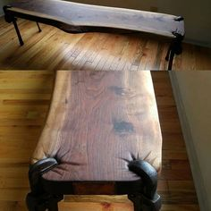 Wood bench with repurposed pipe wrenches