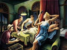 "Thomas Hart Benton, Poker Night (from ""A Streetcar Named Desire""), 1948 ((A Streetcar Named Desire, 1947 written by American playwright Tennessee Williams for which he received the Pulitzer Prize for Drama in Jackson Pollock, Missouri, American Realism, American Artists, Diego Rivera, Kansas City, Diego Ojeda, Penguin Modern Classics, Streetcar Named Desire"