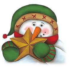 CHRISTMAS SNOWMAN WITH STAR CLIP ART