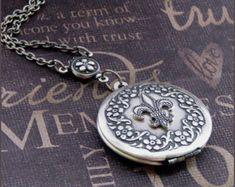 Silver Necklace Locket - Enchanted Fleur de Lis Wreath - By TheEnchantedLocket