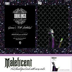 Maleficent Sleeping Beauty Invitation by PartyStyleStudio on Etsy, $16.50 printed on 130pt paper or you can print at home !