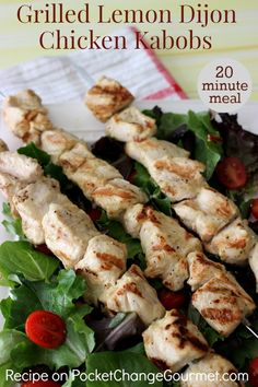 Ready for a fresh, delicious recipe that can be ready in 20 minutes? These Grilled Lemon Dijon Chicken Kabobs have a refreshing flavor from the lemon Chicken Kabob Recipes, Chicken Kabobs, Grilling Recipes, Grilling Ideas, Kebab Recipes, Chicken Bites, Grilled Chicken, Dijon Chicken, Protein