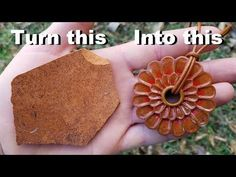 Turn a broken piece of pottery into a beautiful flower necklace - YouTube