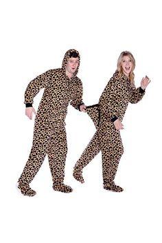 Big Feet Pjs Leopard Print Hoodie Plush Footed Pajamas w Drop Seat (XS) 2d20e9805