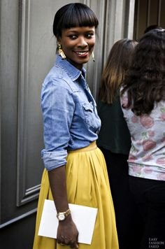 chambray shirt + yellow skirt + gold jewelry