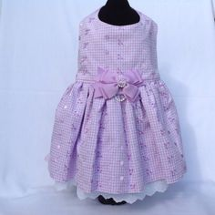 Lilac Embroidered Eyelet  Double Ruffled DOG by princessamee