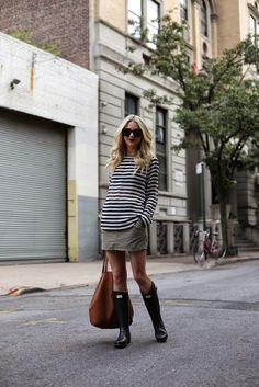 Totally my style. Cozy, loose striped top, casual chino mini, boots with a nice roomy tote.