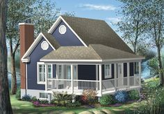 Simple One Bedroom Cottage - 80555PM | 1st Floor Master Suite, CAD Available, Canadian, Cottage, Metric, Mountain, PDF, Photo Gallery, Sloping Lot, Tiny House, Vacation | Architectural Designs
