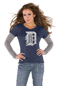 8f55917f8 Touch by Alyssa Milano Detroit Tigers Primary Logo Tri Blend Long Sleeve  Layered T-Shirt