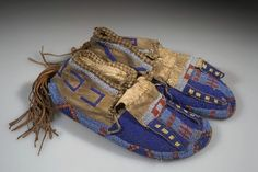 I love these blue and gold moccasins, navajo, beading, native american,