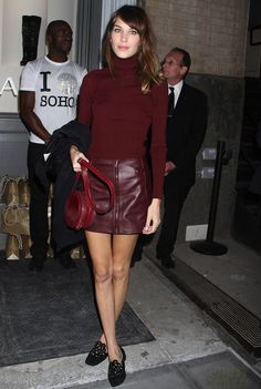 Alexa Chung meets Burgundy Love her. That whole messy wavy hair and put together outfit thing....