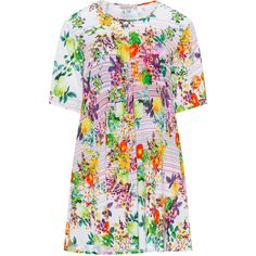 Gozzip White / Multicolour Plus Size Flower print tunic ($71) ❤ liked on Polyvore featuring tops, tunics, plus size, white, plus size tunics, womens plus tunics, plus size floral tops, plus size tops and white tunic