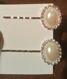 Pearl and Rhinestone Hair Pins by FrankieBeanz on Etsy, $5.99