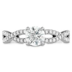 Destiny twist engagement ring with diamond band by Hearts on Fire.