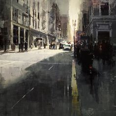 Jeremy Mann, Sunset By Union Square, Oil on Panel, 36 x 36 inches, 2011
