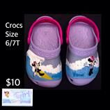 "Crocs Infant/Toddler Girls Minnie Mouse ""Making Waves"" Summer Shoes Size 6/7t $10.  Free shipping with $30 purchase."