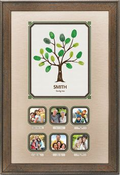 Custom Framing Idea - family pictures with fingerprint tree