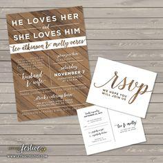 Rustic Wood Wedding Invitation PRINTABLE by LetsGetFestive on Etsy https://www.etsy.com/listing/263328771/rustic-wood-wedding-invitation-printable