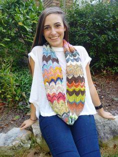 (6) Name: 'Knitting : Kaleidoscope Tube Scarf