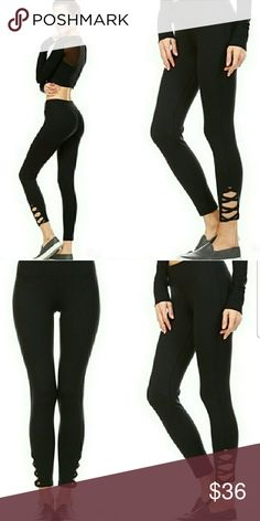 Lattice Ankle Workout Pants Black lattice full length leggings featuring crisscross cut out accents. Comfortable elasticised waist band and moisture management. Perfect for gym or yoga. Premium quality. Material: 88% Polyester and 12% Spandex. Pants Leggings