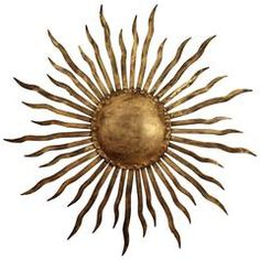 Large Spanish, 1950s Brutalist Hand-Hammered Gilt Iron Sunburst Wall Sculpture