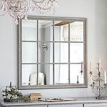 Giant Square Window Mirror - Rustic