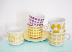 Vintage Mod Yellow Dinnerware Arabia Keltainen kahvipannu like Orla Kiely