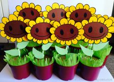 tutorial on how to make potted sunflower decorations for a plants vs zombies party. Hide a bag of sunflower seeds or lollies in the bottom and they make a great take home favour too!