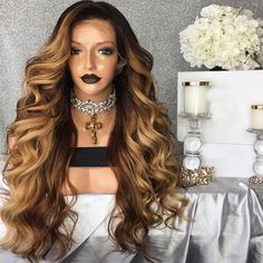 Black Ombre Blonde High Temperature Fiber Peruca Cabelo Deep Long Body Wave Hair Wigs Synthetic Lace Front Wig For Women Blonde High, Blonde Ombre, Remy Human Hair, Human Hair Wigs, Remy Hair, Synthetic Lace Front Wigs, Synthetic Hair, Curly Hair Styles, Natural Hair Styles