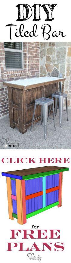 DIY Outdoor Bar Ideas: Tiled Bar | Homemade Backyard Furniture Ideas by DIY Ready at diyready.com/diy-projects-backyard-furniture/