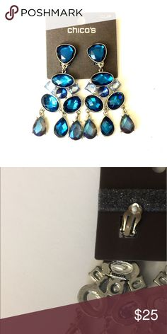 "Chico's 3"" Blue Stone Clip-on Chandelier Earrings • 💕Beautiful clip-on earrings with movement!💕 • New with tags Chico's Jewelry Earrings"