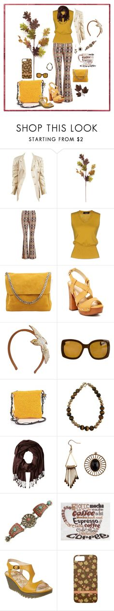 """""""Cute Gold Brown Aztec Pant Outfit"""" by fsg-designs ❤ liked on Polyvore featuring Hermès, Sans Souci, Dsquared2, CÉLINE, Bucco, RED Valentino, Yves Saint Laurent, Sun N' Sand, Betsey Johnson and Fly LONDON"""