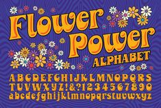 FLOWER POWER • Retro Font Roundup • Little Gold Pixel • #psychedelic #groovy #hippie #retro #typography #type #typeface #fonts #graphicdesign #1970s #1960s