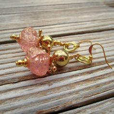 Pink Earrings Pink Jewelry Gold Jewelry Elegant Womens Jewelry Fashion Jewelry Wedding Party Gifts, $16