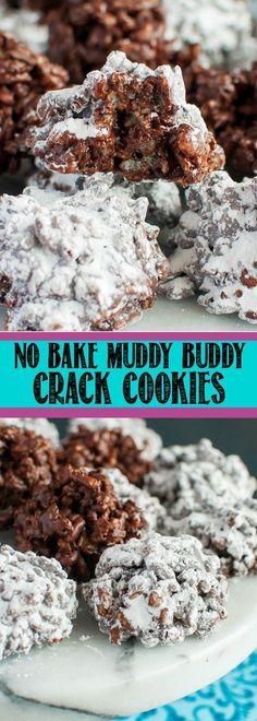 No Bake Muddy Buddy Crack Cookies are a super easy, chocolate peanut butter snac. No Bake Muddy Buddy Crack Cookies are a super easy, chocolate peanut butter snack that no one can resist! Think Rice Krispie Treats meets Muddy Buddies. Easy Cookie Recipes, Sweet Recipes, Dessert Recipes, No Bake Recipes, Healthy Recipes, Cake Recipes, Cream Recipes, Recipes Dinner, Baking Recipes