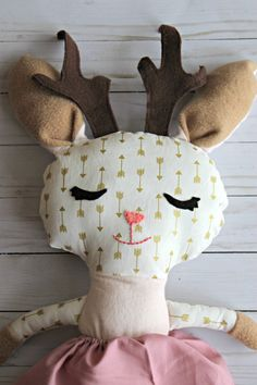 This is a Ready to ship listing for a Jackalope Doll! This is a handmade cloth and felt doll. The face is hand embroidered. It measures approximately 18 long. The Softie is made with 100% cotton, felt, and stuffed with polyester fiberfill. Doll comes with a skirt. -Shipping is 3-4 days  -If you need a rush order there is an additional rush fee. Please message me first before ordering so we can discuss the time frame and so I can create a custom listing for you.  -Care instructions: gentle…