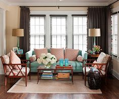 Living Room Color Scheme: Reimagined Traditional - Coral Orange, Uptown Aqua, & Milk Chocolate